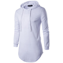 54a1e75929033 Camisetas extragrandes de moda para hombre Camisetas con capucha de algodón Camisetas  de manga larga con cremallera en el dobladillo Hip Hop Streetwear ...