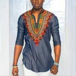 2019 t-shirt tradizionali T-shirt uomo vintage Dashiki 2017 poliestere retrò Bohemia Tops T-shirt uomo africana tradizionale T-shirt etnica Plus Size t-shirt tradizionali economici