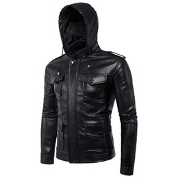 Wholesale Men S Detachable Slim Jacket - Wholesale- 2017 new faux fur coats clothes fashion pilot motorcycle imported pp skull heand jewelry leather hooded jacket men slim fit B005