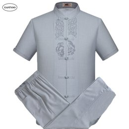 Wholesale Traditional Men Chinese Clothes - Embroidery Linen Shirts Men Summer Casual Shirts Plus Size Mandarin Collar Chinese Traditional Clothing Sets Men's Shirt Suits