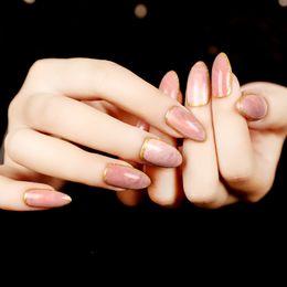paquetes de salón al por mayor Rebajas Venta caliente 24 unids / set Rosa Textura de Piedra Sllipse Forma Corta Uñas Postizas Completas de Uñas Artificiales de Acrílico nep nagels