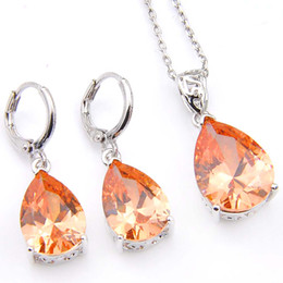 Wholesale Morganite Crystal - Luckyshine Holiday Gift Drop Fire Morganite Crystal Cubic Zirconia 925 Silver Pendants Necklaces Drop Earrings Wedding Jewelry Sets