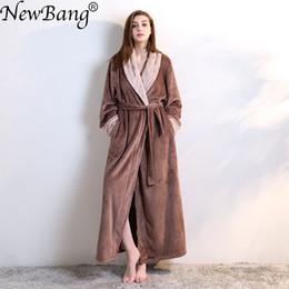 db73feba42 NewBang Brand Women s Bathrobe Winter Extra Long Knitted Waffle Flannel  Coral Fleece Bath Robe Thicken Warm Nightgown Home Wear