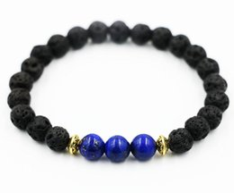 Wholesale Lapis Lazuli Gold Bracelet - whole saleBPPCCR Exclusive Blue lapis lazuli 6MM Lava stone string prayer beads Gold color Men Women Bracelets bijoux Pulseiras masculinas
