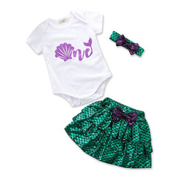 Wholesale Baby Clothes Fishing - Children Mermaid outfits baby bow headband+shell print romper+Fish scales skirts 3pcs set 2018 summer suit Boutique kids Clothing Sets C3913