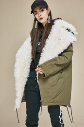 2019 giacche per le signore pelliccia bianca Collo ampio Cappotto verde militare Fodera in pelliccia di agnello staccabile, piumino da donna, piumino da donna giacche per le signore economici