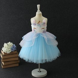Wholesale Christmas Gowns For Girls - Unicorn Girl Dress Embroidery Flowers Kids Princess Dress for Baby Girl Clothing Beading Sleeveless Girl Summer Dress