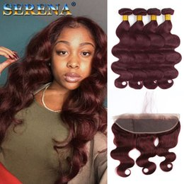 Wholesale 5pcs hair weave - Hot Sale Beauty Color #99j Wine Red Hair Weaves With 13X4 Lace Frontal 5Pcs Lot 7A Burgundy Body Wave Human Hair Bundles With Frontal