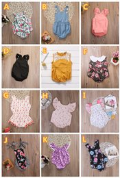 Wholesale Lace Girls Clothing - 2018 summer infant baby girls flower rompers animal onesies kids jumpsuit toddler bodysuit wholesale baby clothes boutique clothing 0-24M