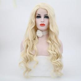 Parrucca bionda anteriore in pizzo Parrucca anteriore in pizzo sintetico per capelli biondi ad alta temperatura in fibra sintetica per capelli lunghi da