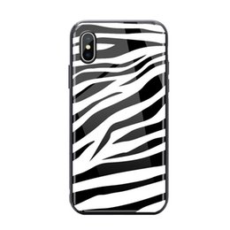Cassa cute iphone paracolpi online-Custodia in vetro temperato di lusso per iPhone X 8 7 Plus. Carino paraurti in TPU Zebra Pattern per iPhone 6s