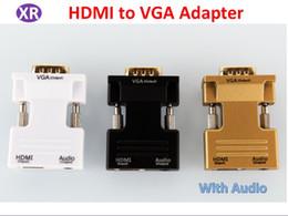 vga cavi di colore Sconti HDMI Femmina a VGA Maschio Adattatore da 3,5 mm Uscita audio Supporto 1080p Risoluzione con cavo audio Oro Nero Colore bianco Da Hdmi a VGA Adattatore NO4
