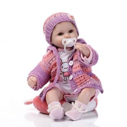 Wholesale Dolls Reborn - Wholesale 17 Inches Lifelike Silkworm Reborn Baby Soft Silicone Vinyl Real Touch Doll Lovely Newborn Baby Rabbit Clothes Free Shipping