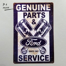 "Wholesale cars bar - Tin signs ""Ford Genuine Parts & service since 1903"" Mustang Car Garage Metal Decor Art Bar Pub Shop Store"