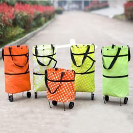 Sacos de compras com rodas dobráveis on-line-Moda rebocador sacos de compras 6 estilos dobrável saco de compras com rodas roda de dobramento de material de pano de pano de armazenamento de cestas de oxford
