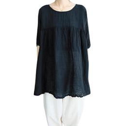 blusas coreanas de algodón Rebajas Otoño Plus Size Women Clothing Blusa de algodón suelta ocasional O-cuello Half Sleeve Solid acanalada Vintage Korean Style Big Size Tops