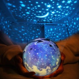 Wholesale Stars Projection - Creative Bed Night Lamp Change Colors PVC Projection LED Lights Rotating Star Moon Sky USB Light For Home Decoration 28ln B