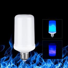 Lámpara de maíz led azul online-Blue Fire 7W E27 Bombillas LED Efecto de llama dinámica LED Bombilla de maíz Simulación Encendido Parpadeo Reemplazar linterna de gas Lámparas de decoración