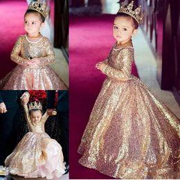 Wholesale princess bling wedding dresses - 2018 Bling Gold Sequins Princess Flower Girl Dresses Long Sleeves Long Kids Birthday Party Dresses Girls' Pageant Dresses