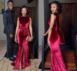 Wholesale Jewel Velvet Dress - 2018 Burgundy Velvet Mermaid Evening Dresses Jewel Neck Sash Vestidos De Novia Split Backless Black Girl Prom Dress 2017 African Party Gowns