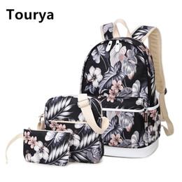 Wholesale Flower Laptop Bags - Tourya 3pcs Set Backpack Women Flower Printing Backpacks School Bags Bookbag for Teenagers Girls Laptop Rucksack Travel Daypack