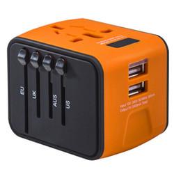 Cargador usb mundial online-Adaptador de viaje universal Todo en uno Cargador de viaje internacional 2.4A Dual USB Adaptador de corriente mundial Enchufe de pared Cargador para EE. UU. Reino Unido UE AU 50p