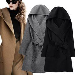 Chaqueta de lana prendas de vestir online-2016 nuevo invierno mujer abrigo de lana de manga larga dos lados desgaste con cinturón suelto cálido chaqueta de lana con capucha prendas de vestir exteriores H9