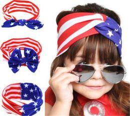 2019 fascia di giorno dell'indipendenza American Flag Headband 4th of July Independence Day Fascia annodata con Gair Bow American Flag Accessori per capelli spedizione gratuita fascia di giorno dell'indipendenza economici