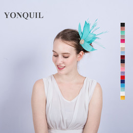 Wholesale Wholesale Feather Fascinators - NEW ARRIVAL multicolor imitation Sinamay fascinators hat with feather for Kentucky Derby wedding party race Event FREE SHIPPING
