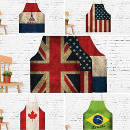 2019 bandiere brasiliane New creative grembiule novità bandiera americana grembiule adulto stampa Canada Brasile grembiule cartone animato barbecue campeggio cucina strumento T6I009 bandiere brasiliane economici
