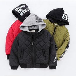 polyester cotton wadding 2018 - 2018 Winter Children Coat Hooded Boy cotton-padded Outwear Jacket Warm quilted Dimond Hooded jacket Wholesale 3-8years