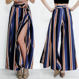 Wholesale Hot Cotton Capris - Women High Waist Side Split Hot Pants Casual OL Lady Striped Wide Leg Trouser