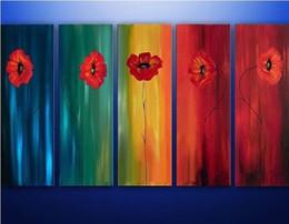 Peint à la main acrylique peintures florales abstrait fleur rouge peinture à l'huile ? partir de fabricateur