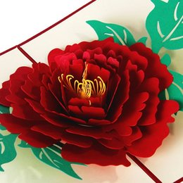 Wholesale Kirigami 3d Wedding - Simple Peony Greeting Card 3D Pop Up Postcard Birthday New Year Christmas Folding Kirigami Card for Wedding Valentine's Day