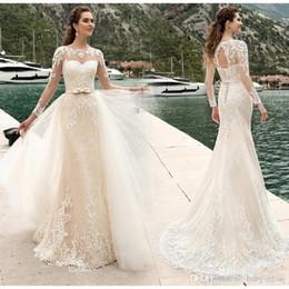 988977441c9 Sheer милая шеи оболочка кружева свадебное платье с длинными рукавами  замочную скважину обратно свадебное платье со съемной юбкой на заказ корсет  свадебное ...