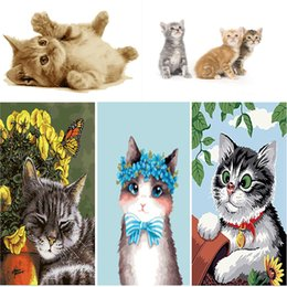 Wholesale Cat Hand Oil Painting - Diy painting by numbers hand painted canvas oil paintings Picture of cute cat coloring by number canvas art decoration