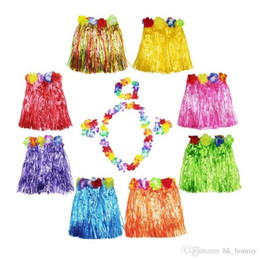 afb49c9e2 400Sets 40cm Hawaiian Hula Grass Skirt + 4pc Lei Set for Child Luau Fancy Dress  Costume Party Beach Flower Garland Set ZA1581