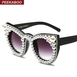 8da7ba64088a0 Peekaboo Mode luxe strass chat oeil lunettes de soleil femmes marque  designer surdimensionné chat lunettes de soleil perle dames partie noir  lunettes de ...