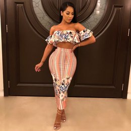 034a0fb3e9f8 Sexy Two Piece Set Women 2018 Summer Printing Shoulder Crop Top and Long Skirts  Suit Club Wear Party 2 Piece Holiday Outfits