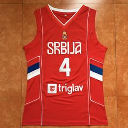 Milos Teodosic cosido # 4 Equipo Serbia Srbija retro rojo de los hombres del jersey de baloncesto encargo cualquier Número Nombre jerseys desde fabricantes