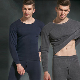 Wholesale Long Johns Sets For Men - 2017 Autumn Winter Thermal Underwear for Men Fleece Thick Warm Solid Casual O-neck Slim Long Johns Sets Thermal Underwear GD342