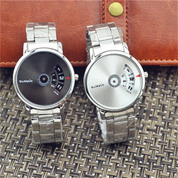 Relógio quartzo feminino on-line-Womage tira turntable dial relógio de quartzo das mulheres dos homens relogio masculino requintado relógios de pulso de aço home decor moda 12 h ff