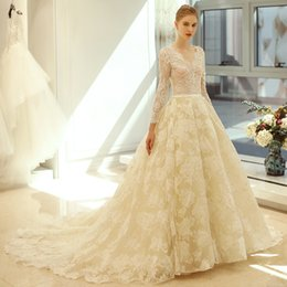 Wholesale High End Wedding Gowns - OY273 Gown Wedding Dress New Bride Married V-neck Long Sleeve Sexy Perspective Slim Gown Luxury High-end sleeved Wedding Dresses With lace