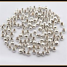 2019 bouchon de perles de 9 mm 1 set (1000PCS) 2-6mm Perles Argent Plaqué Lisse Rond Spacers Perles BRICOLAGE Bracelets Collier Bijoux Cadeaux
