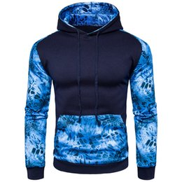 novelty hoodies for men Promo Codes - New Men's Blue Leopard Hoodie Novelty Patchwork Printed Long Sleeves Coat England Style Casual Hoodies For Autumn Spring