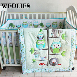 Wholesale Boys Crib Bedding Set - 7pcs Cotton Baby Bedding Set Owl Family Nursery Cartoon Bed with Quilt Bumper Sheet Fitted Cover Dust Ruffle for Boys Girls