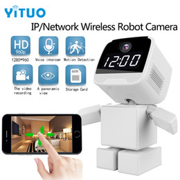 Cctv ferngesteuert online-Drahtlose Roboter 960 P IP Kamera WIFI Uhr Netzwerk CCTV HD Baby Monitor Fernbedienung Home Security Nachtsicht Audio YITUO