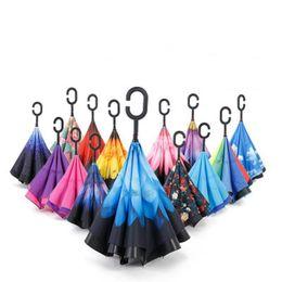 Wholesale colors umbrellas - Windproof Reverse Umbrella New Design 60 Colors Double Layer Inverted Umbrellas C Handle Umbrellas For Car Printable Customer Logol RE5645