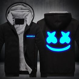 veste d'hiver hommes usa Promotion Xijun USA TAILLE Marshmello Luminous Glowing Sweat à capuche Hommes Sweat à capuche Molleton Épaissir Hip Hop À Capuche Zipper Vestes D'hiver Homme