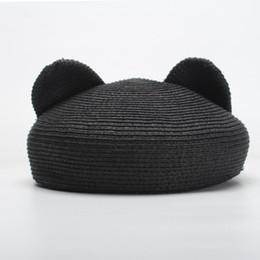 2019 chapeau de laine noir oreille de chat Femmes Chapeau Béret Femme Laine De Coton Mélange De Mode Oreilles De Chat Béret Casquette Noire Automne 2018 Femme Neuve Casquettes Pliable